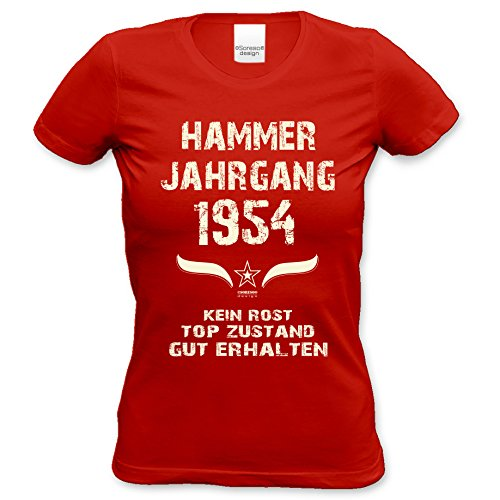 Damen-Kurzarm-T-Shirt Girlieshirt Hammer Jahrgang 1954 Geschenk-Idee zum 63. Geburtstag Geburtstagsgeschenk Farbe: schwarz und rot rot-01
