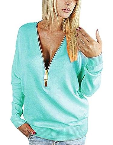 Yidarton Damen Langarmshirt Elegant Sweatshirt Bluse mit Reißverschluss V-Ausschnitt Pullover
