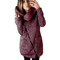 FuweiEncore Chaqueta con Cremallera de Manga Larga para Mujer Sudadera  Outwear Vino Rojo S (Color 08aee74236e7