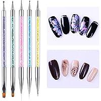 Nacido Pretty 5pcs Nail Art pinceles para decoración de uñas de gel UV Dibujo Dual-Ended diseño colorido mango de lentejuelas Manicura Builder