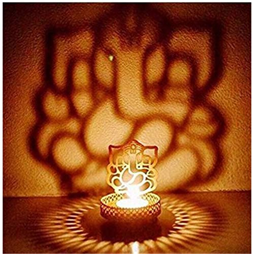 Heaven Decor Metal Divine Shadow Ganesh Tealight Candle Holder (1)