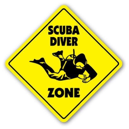 Zitat Aluminium Scuba Diver Zone Schild Neuheit Aqualung Tauchen Coral Reef Tropical Metall Geschenk Schild, Dekoration -
