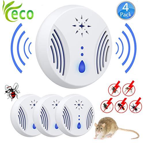 Nitoer Repelente Ultrasónico Mosquitos 2019 Control de Plagas para Las Moscas, Cucarachas, Arañas, Hormigas, Ratas y Ratones, Insectos Antimosquitos Eléctrico Extra Fuerte para Interiores (4-Pack)