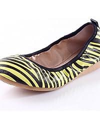 ZQ YYZ Zapatos de mujer-Tac¨®n Plano-Comfort-Planos-Exterior / Casual-Semicuero-Negro / Azul / Amarillo / Rosa / Morado / Rojo / Blanco / Beige , purple-us5 / eu35 / uk3 / cn34 , purple-us5 / eu35 / u