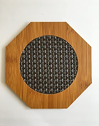 Q&S Natural Bamboo Heat Pad Trivet Pot Holder Heat Mat Hot Pad Coaster Pack of 2