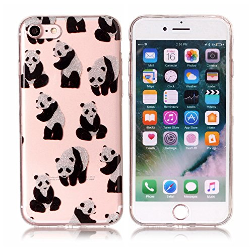 iphone 7 Hülle,E-Lush TPU Dünn Silikon Hülle [Kristallklar Durchsichtig],Purple Butterfly Muster Crystal Stoßdämpfend Transparent Silikon Schutz Handy Hülle CaseClear Klar Hanytasche für iphone 7 Durc Giant Panda
