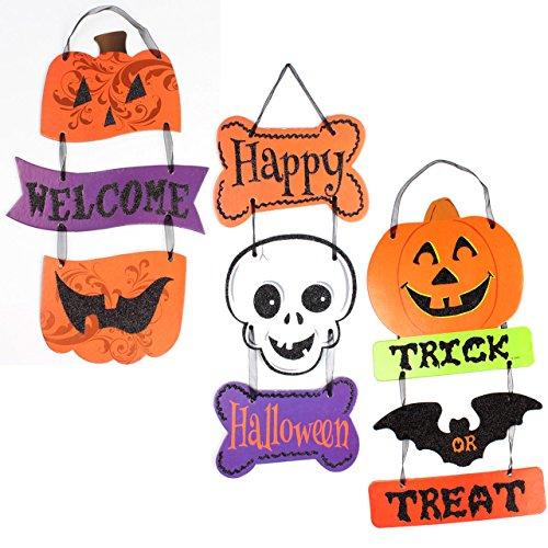 Domika Welcome Happy Halloween Trick or Treat Aufhängen Dekoration, Dekorative Board Schild Tür Wand aufhängen Dekoration für Halloween Party