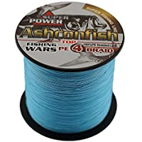 Ashconfish Braided Fishing Line - 4 Strands Super Strong PE Fishing Wire Multifilament Fishing String 300M/328Yards Fishing Thread 70LB Test- Abrasion Resistant Incredible Superline Zero Stretch Small Diameter - Blue