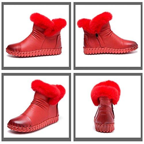 femmina fatto a mano stivali cotone morbido suole pelle thicker felpa tacco piatto caldo casuale pigra incinta caviglia scarpe red