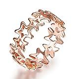 Thumby Tin Alloy Titanium Plated 2.5g Trendy Pentagram Ring for Women,Oro,9