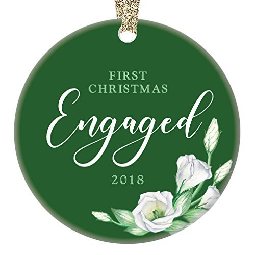 qidushop 1st Christmas Engaged Couple 2018 Ornament First Engagement Ceramic Collectible Present for Future Mr & Mrs Wedding Pretty Green & White Roses Flat Porcelain (Rose White Collectibles)
