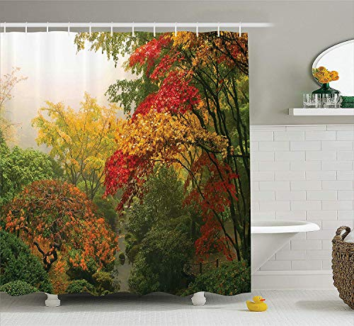 BUZRL Country Home Decor Shower Curtain Set, Maple Trees in The Fall at Portland Japanese Garden One Foggy Morning Scenery, Bathroom Accessories, 60x72 inches, Red Yellow Green