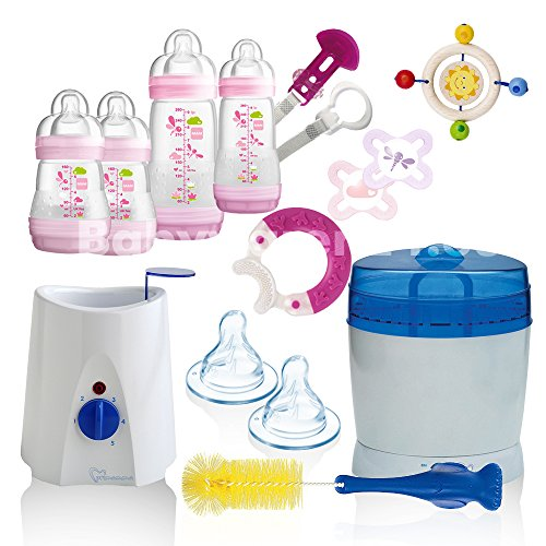 MAM All-In-One Starterset 22 tlg. Anti-Colic Flaschen Set Sterilisator Babykostwärmer (Pink)