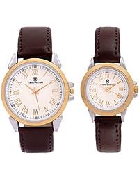 Timewear Analogue Beige Dial Watch For Men And Women (901Wdtcouple)