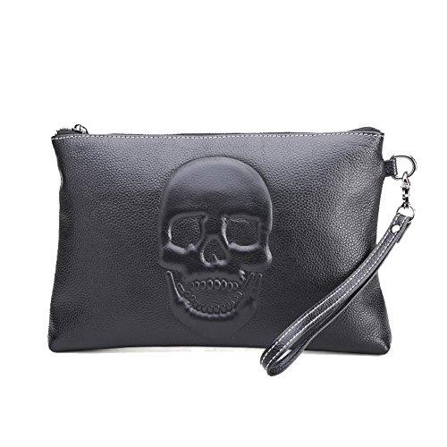 H&W Unterarmtasche Handgelenktasche Clutch Geldbörse Portemonnaie Leder für Herren Schwarz#5