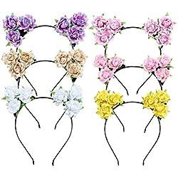 Tinksky 6 Unids Lindo Orejas de Gato Diadema Rose Flower Hair Hoop para Fiesta de Disfraces Cosplay Accesorio