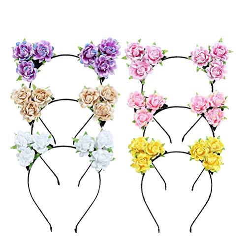 Tinksky 6 unids Lindo oreilles de chat bandeau rose flower hair hoop pour fête d'halloween cosplay accessoire