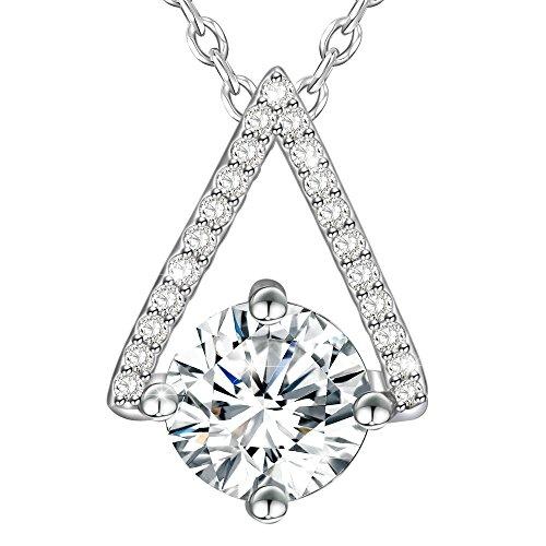 Dawanza Cadeau Fête des Mères Collier Femme Cristal en Plaqué Or Blanc-Pendentif Triangle-Bijoux Fantaisie Chaîne inclus