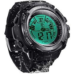 10 ATM Montre de plongée numérique Submersible 100 m Résistant à l'eau Sport Montre-Bracelet Écran LCD Lumineux avec Fonction chronomètre Alarme