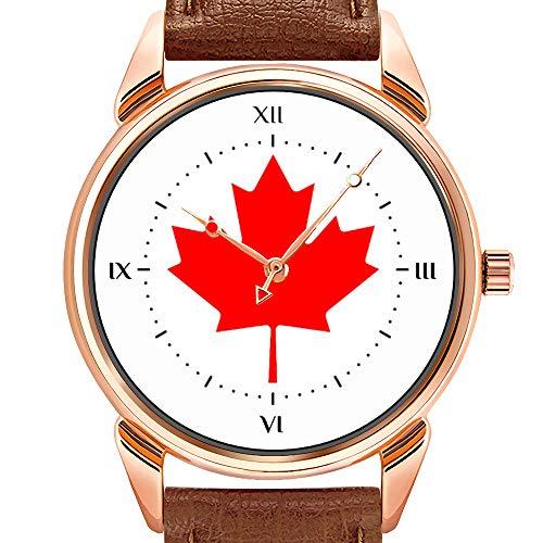 Herrenuhren Mode Quarzuhr Business wasserdicht leuchtende Uhr Männer braun Leder Uhr Kanada Uhr Kanada Souvenir Armbanduhren Geschenke