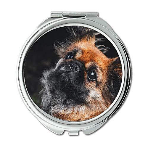 Yanteng Spiegel, Schminkspiegel, Hündchen Canine Cute Pet Yorkie Little Adorable, Taschenspiegel, tragbarer Spiegel