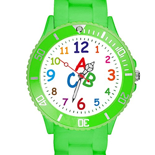 Taffstyle Kinder Armbanduhr Silikon Sportuhr Bunte Sport Uhr Kinderuhr Lernuhr Zahlen ABC Motiv Analog Grün