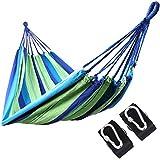 Songmics Hamaca de algodón y poliéster Multicolor con correas y mosquetones 210 x 150 cm Carga de 270 kg GDC15P