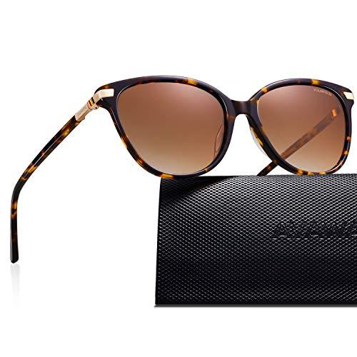 AVAWAY Retro Polarisierte Damen Sonnenbrille UV400 Schutz Brille, Acetat Rahmen, A3
