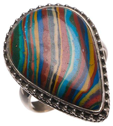 stargems (TM) Natürliche Regenbogen Calsilica handgefertigt Boho 925Sterling Silber Ring, UK Größe P