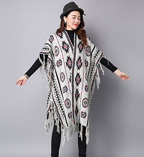 WanYang Grande Taille Lâche Femmes Manteau De Châle Mode Automne Et Hiver Cardigan En Tricot Gris Clair