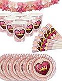 HomeTools.eu® - Princess Party-Set | Papp-Becher, Papp-Teller, Tröten, Girlande | Prinzessin Party-Geschirr Set und Deko | 6 Personen, 19-Teilig