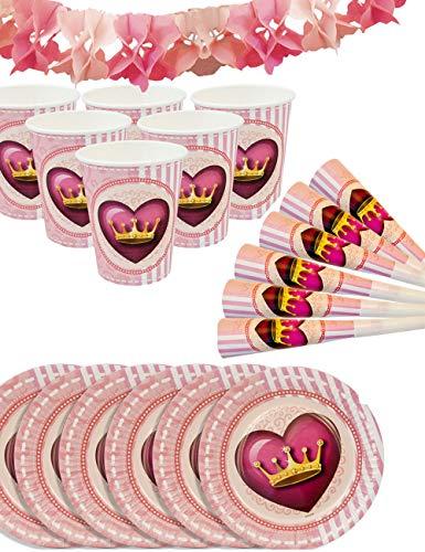 ncess Party-Set | Papp-Becher, Papp-Teller, Tröten, Girlande | Prinzessin Party-Geschirr Set und Deko | 6 Personen, 19-Teilig ()