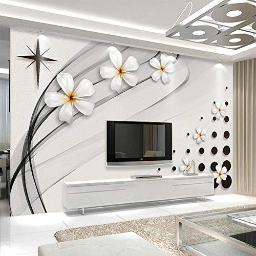 YunYiBZ Moderne Mode Wandbild Tapete 3D Stereo Schwarz Und Weiß Keramik Blume Foto Wandmalerei Wohnzimmer Tv Sofa Hintergrund Wand 3D400cm(W) x250cm(H) -