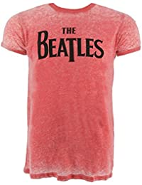 The Beatles Drop T Logo Maroon Burnout T-Shirt Official Licensed Music