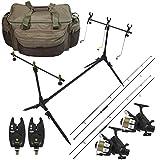 G8DS® Starter-Karpfen-Angel-Set Carp fishing Tasche, Rod Pod, Bissanzeiger, Buzzbars, 2 Angelrollen und 2 Angelruten