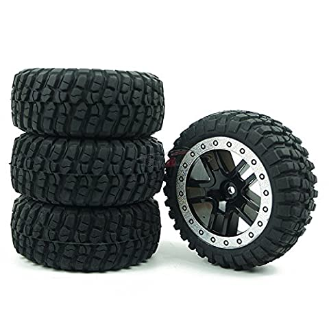 Junsi Black PA Rubber Sponge Tires Wheel Rim Jante for 1/10 RC Short Course Traxxas Slash