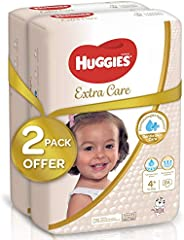 Huggies Extra Care, Size 4+, Two Jumbo Packs, 128 Diapers