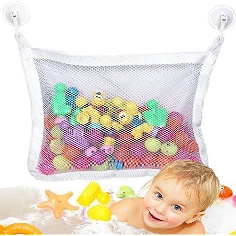 Bolsa de almacenamiento de juguetes para el baño, diseño de Prime day Deal–Best Baby–Organizador de juguetes para baño para bañera con 2Extra fuerte succión tazas y grandes–Juguetes para el baño soporte