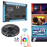 Retroilluminazione TV LED con controllo APP Bluetooth, 4 x 0,5 m Multicolore RGB Musica Luce Striscia LED Controllato da Smart Phone per 40 a 60'' HDTV, PC, Specchio (USB alimentato)