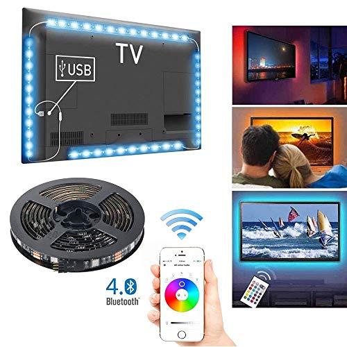 "Tiras LED de TV con Control de Aplicación, 4 x 0.5 m USB RGB Multicolores Música Retroiluminación de LED Controladas por Teléfono Inteligente para 40-60"" HDTV, Monitores y Decoración de bricolaje"