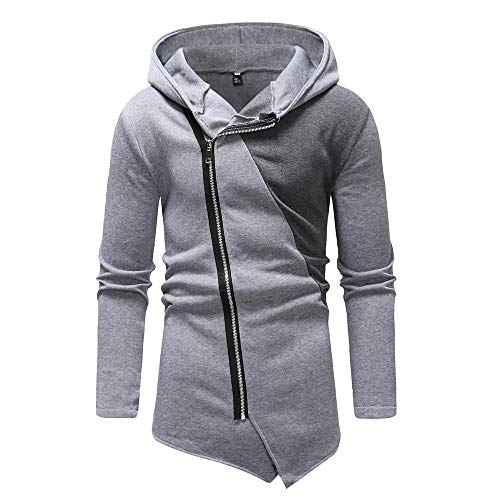 Mymyguoe Männer Patchwork Jacke Splicing Sweatshirt Slanted Zipper Pullover Langarm einfarbig...