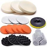 CLE DE TOUS - Set de 18pcs Accesorios Esponjas Pulidos para Pulidoras para Coche Esponjas Plato Paños