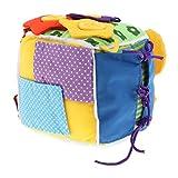 D DOLITY Gioco Abilità Base Vita Cubo Fibbia Cerniera Zip Fibbia Educativo Bambino Stoffa Multicolori