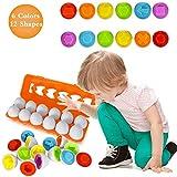 Angusiasm 12 PCS Giocattolo a Forma di Uovo-Uova di Bambino Giocattolo per Bambini educativo Colore e Forme di riconoscimento del Gioco