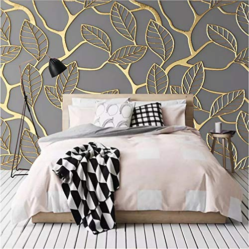 Foto Wallpaper Murales 3D Stereoscopico Golden Tree Foglie...