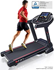 Sportstech F37 Profi Treadmill up to 20 km/h, self-lubrication system, smartphone fitness App, 15% slope, Bluetooth USB MP3, large running surface with cushioning system up to 130 kg - foldable and easily stowed away