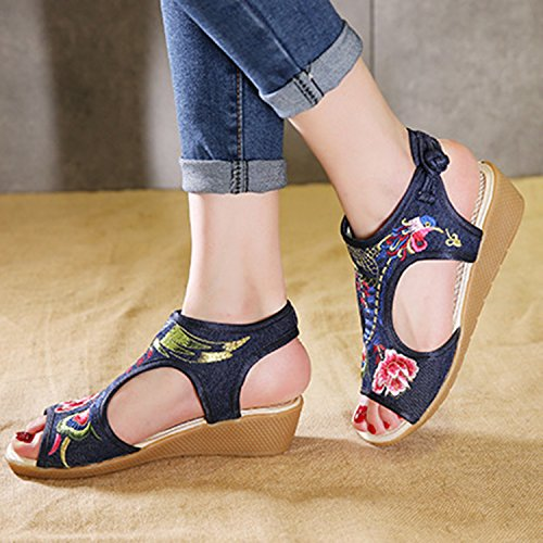 Oasap Women's Phoenix Embroidery Peep Toe Wedge Heels Sandals Navy