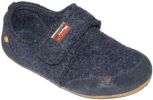 Living Kitzbühel Klettslipper Velourleder Jungen Pantoffeln Blau (nachtblau 590)