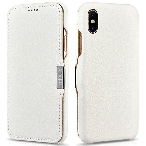 Mobiskin Tasche für Apple iPhone X/Case mit Echt-Leder Außenseite/Schutz-Hülle seitlich aufklappbar/Ultra-Slim Cover/dünne Klapphülle/Etui / Weiß