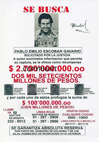 Fotografía firmada de edición limitada de Pablo Escobar. (Certificado impreso)